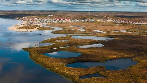 Tundra, aerial photography. Jamal Region, Russia, Sumburgh Village, Arctic Circle