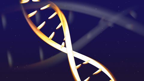 Abstract glowing DNA structure