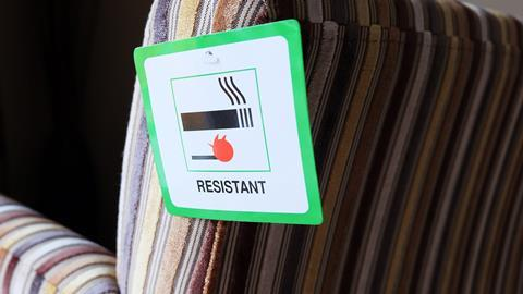 An image showing a flame resistant label attached to furniture