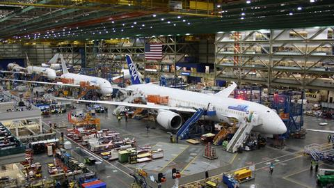 Boeing 787 aeroplanes under construction