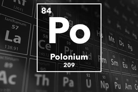 Periodic table of the elements – 84 – Polonium