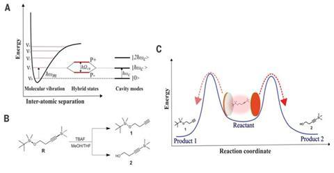 Schematic illustrations of test reaction used to probe VSC on site selectivity