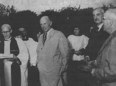 Opening ceremony at Penn Mead - Robert Le Rossignol (far right hand-side)