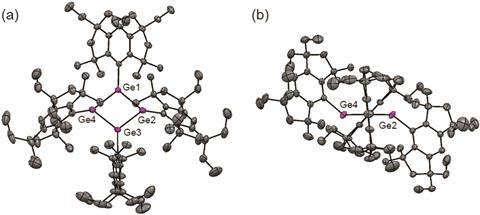 Molecular structures of Ge4(EMind)4: (a) top view and (b) front view. All hydrogen atoms, disordered carbon atoms, and a hexane molecule are omitted for clarity.