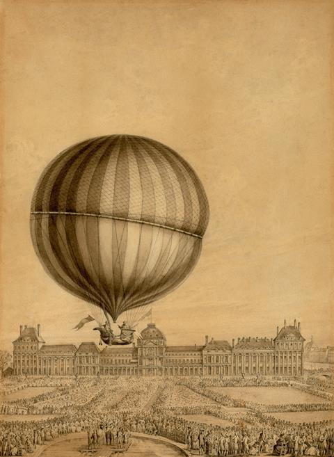 Departure of Jacques Charles and Marie-Noel Robert's 'aerostatic globe' balloon from the Jardin des Tuileries, Paris, on Dec. 1, 1783.