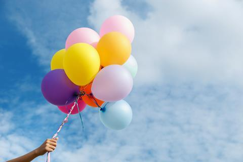 Helium-filled balloons