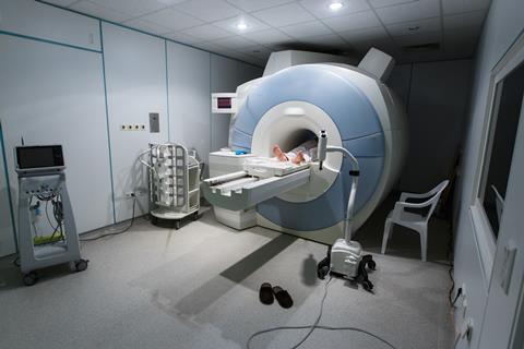 A photograph of an MRI scanner