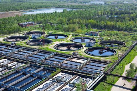 A photograph of a sewage treatment facility