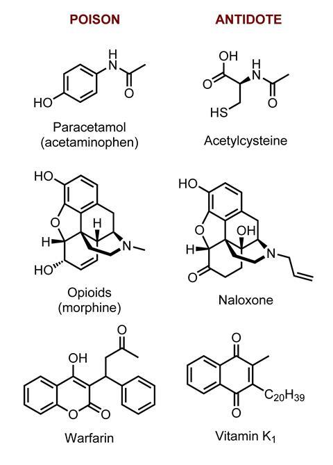 A picture showing common poisons and their antidotes