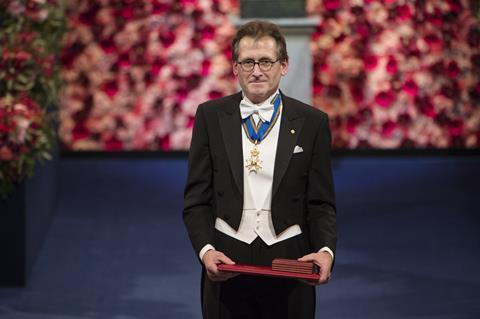 Bernard Fearing with his Nobel Prize