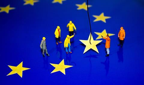 An image showing the removal of a star from the EU flag