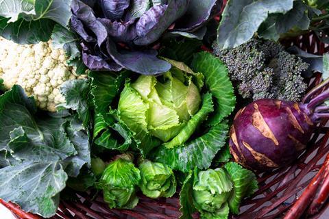 Basket of cruciferous vegetables