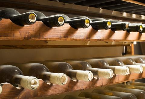 Wine bottles on shelf