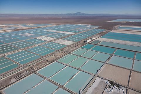 World's largest lithium deposit, evaporation ponds in Chile