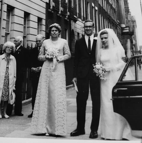 An image showing June Sutor as a bridesmaid at Maureen Julian's wedding
