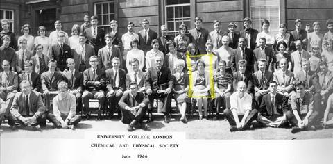 An image showing June Sutor in a UCL group photograph from 1966
