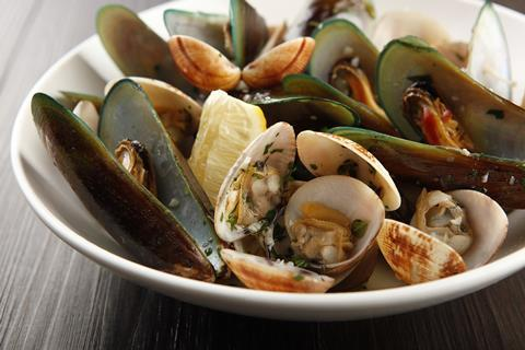 Assorted shellfish in a bowl