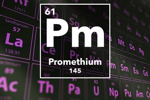 Periodic table of the elements – Promethium
