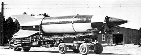 V-2 rocket on Meillerwagen at Operation Backfire near Cuxhaven in 1945
