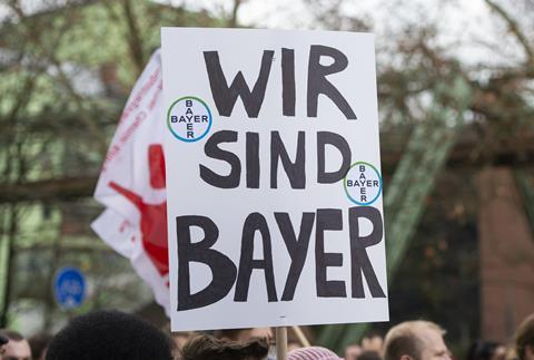 Bayer employees protesting over job cuts in Wuppertal, Germany