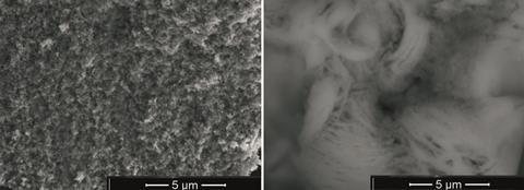 SEM images of tin aluminophosphate nanocomposite before and after exposure to pertechnetate