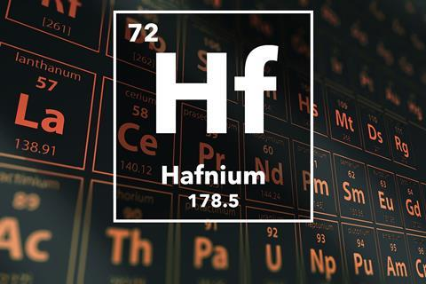 Periodic table of the elements – 72 – Hafnium