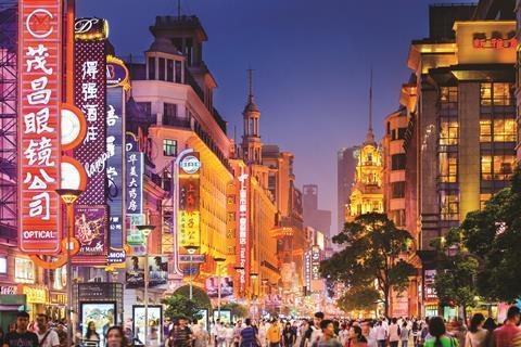 Nanjing road shopping district in Shanghai, China