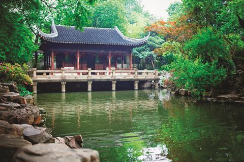 Nine lions pavilion at Yu Yuan gardens, in Shanghai, China