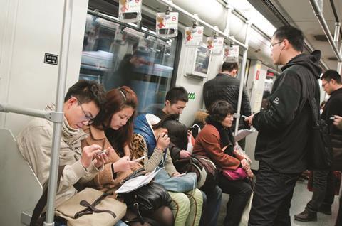 Shanghai metro train with passengers