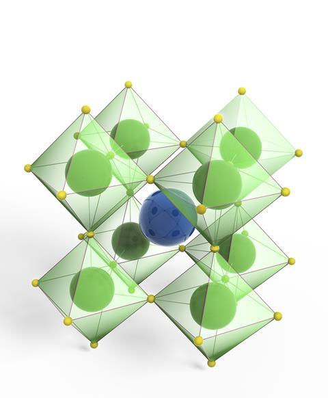 A picture showing a perovskite mineral molecular model