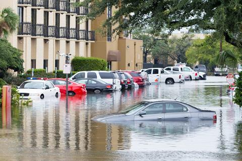 cars submerged in the floodwaters caused by Hurricane Harvey