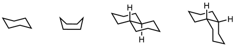 Chair and boat forms of cyclohexane, and forms I and II of decalin