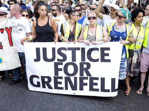 London, United Kingdom - June 19, 2017. The Grenfell Tower Disaster. A silent march was held yesterday in the streets that surround the Grenfell Tower by local residents demanding justice.