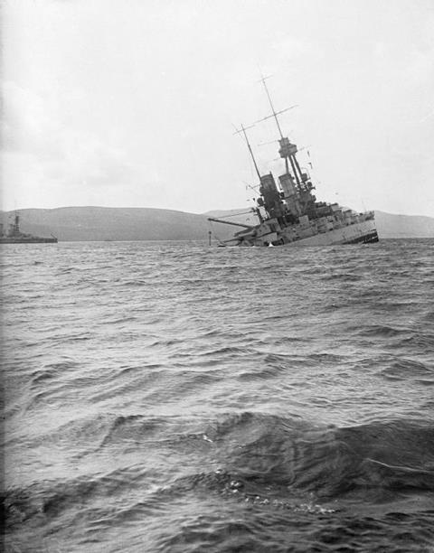 SMS BAYERN down by the stern and sinking at Scapa Flow