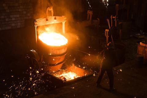 Hot molten steel in a foundry