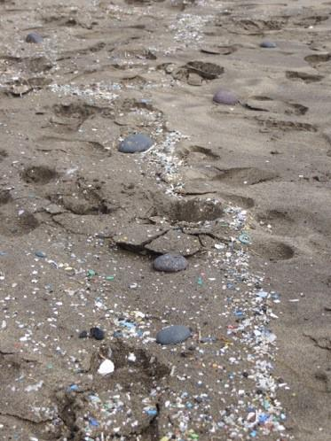 Microplastics on the beach at caleta de famara, lanzarote, spain ©perkin elmer