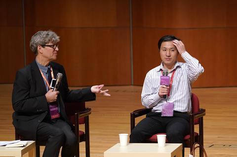 An image showing He Jiankui at the Second International Summit on Human Genome Editing