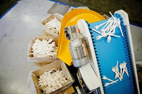 An image showing Novamont bioplastic forks
