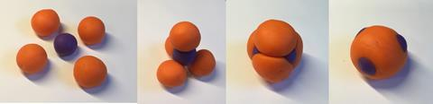 Play-dough model illustrating the concept of colloidal fusion