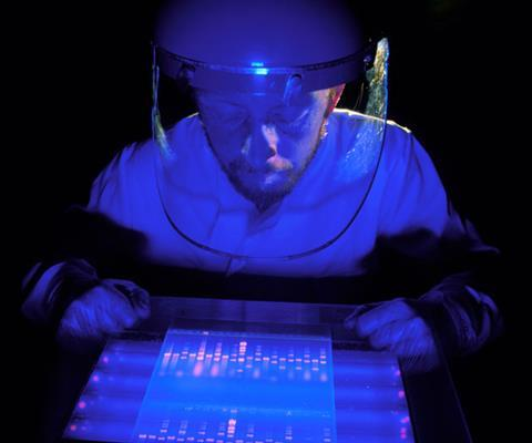 Man in protective clothing looking at fluorescing DNA slide