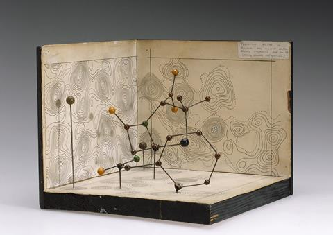 An image showing Hodgkin's 1945 model of the structure of penicillin