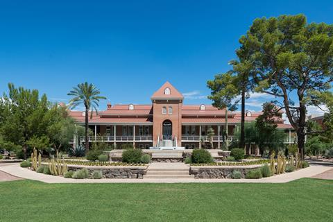 A picture of the exterior of the Old Main building on the campus of the University of Arizona