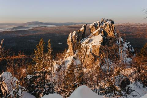 Rock city stone Butte in the winter the Ural mountains at sunrise