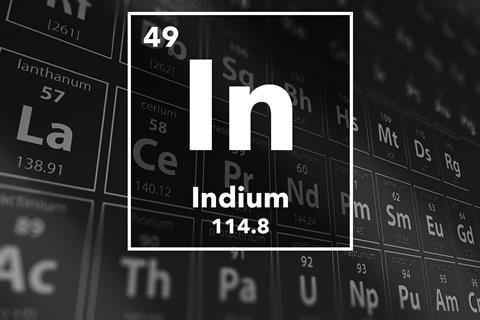 Periodic table of the elements – 49 – Indium