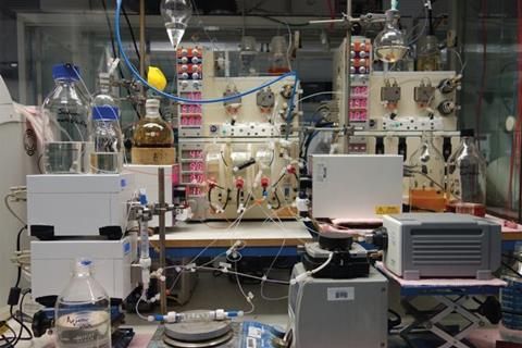 Many pieces of lab equipment used for a study