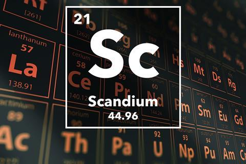 Periodic table of the elements – 21 – Scandium