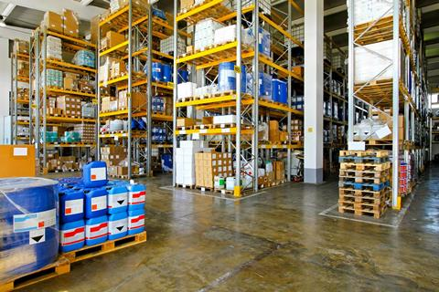 High shelves in a warehouse