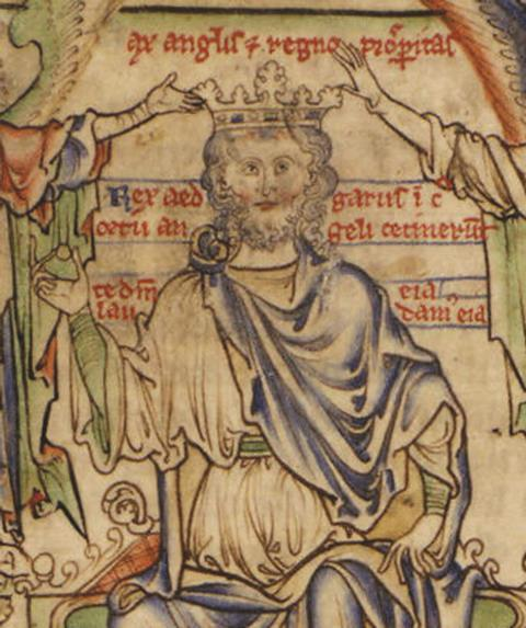 Historical portrait of Edgar the Peaceful sitting on the throne with a crown being placed on his head