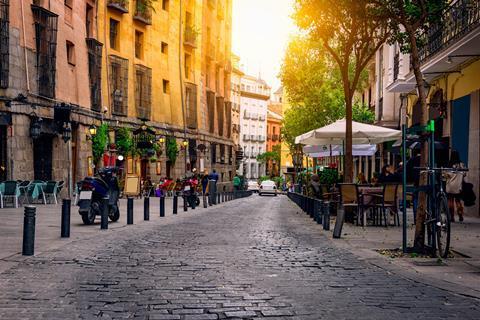 Old street in Madrid, Spain