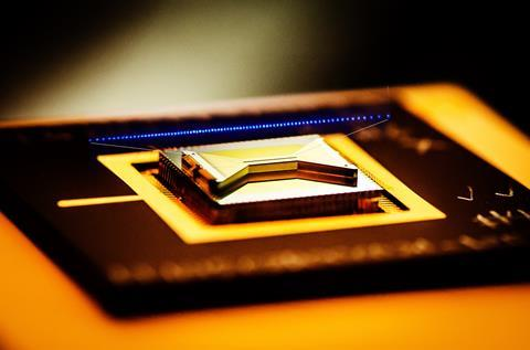 An image showing IonQ's quantum computer with trapped ions